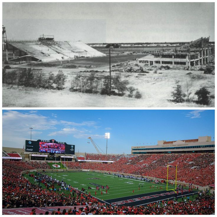 """From Facebook page: Texas Tech University Undergraduate Admissions #TTUflashbackfriday Back on October 3, 1925, the then named """"Matadors"""" from Texas Technological College played McMurry for the first ever football game! Check out the stadium under construction around 1926, and what we are proud to call the Jones AT&T Stadium now!    (my dad helped build the original """"stadium""""  :)"""