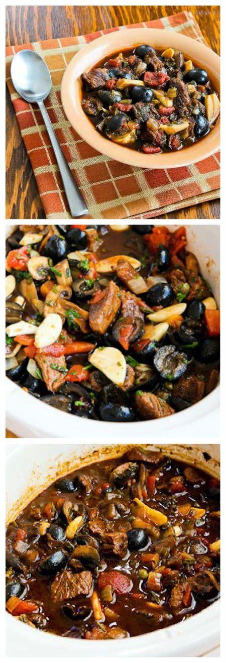 Original Slow Cooker Mediterranean Beef Stew with Rosemary and Balsamic Vinegar (Low-Carb, Gluten-Free, Paleo) found on KalynsKitchen.com