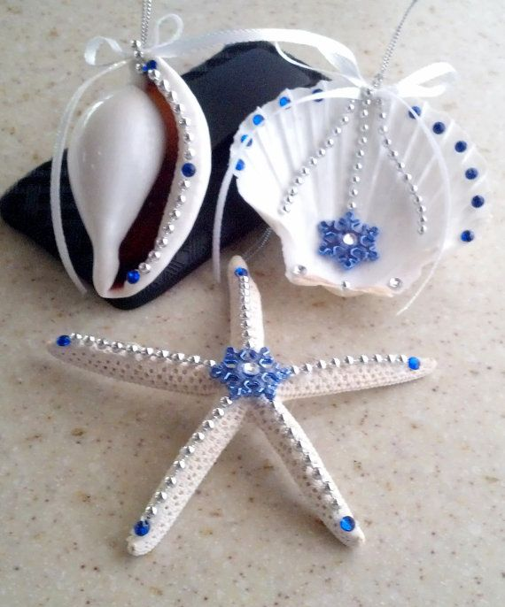 Christmas Seashell Ornaments Set 15  Blue & Silver by Eagle414, $17.95