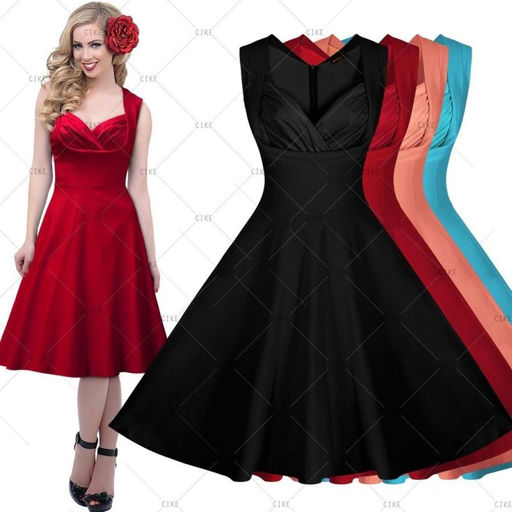 Womens Vintage 1950's Cocktail Party Casual Sexy Rockabilly Swing Flared Dresses #CIKE #StretchBodycon #Casual