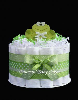 diaper cakes for baby shower center pieces | Tier Baby Frog - Baby Shower Diaper Cake/ Centerpiece