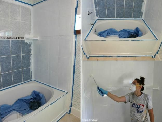 Pic On Tile Bathroom How To Paint Over Tile Wall In The Small Bathroom That Has The