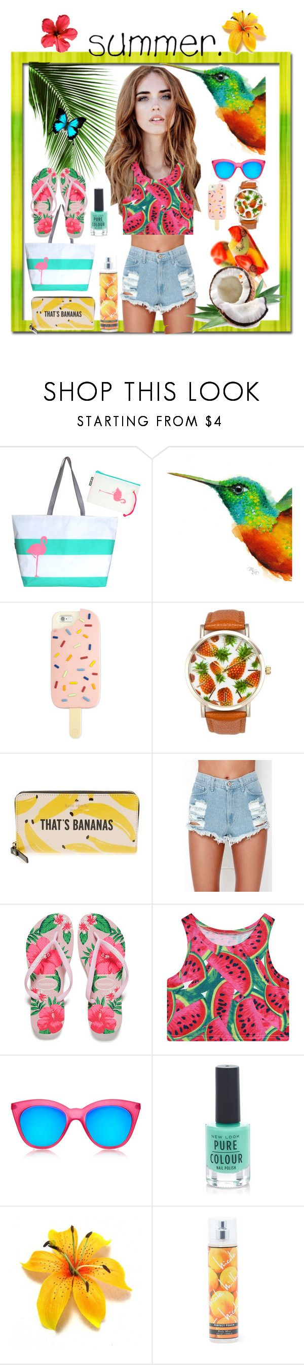 """fruity summer outfit"" by anoo17k ❤ liked on Polyvore featuring Hayden Reis, Tory Burch, A Classic Time Watch Co., Kate Spade, WithChic, Havaianas, Chicnova Fashion, Le Specs, New Look and Nicole Miller"