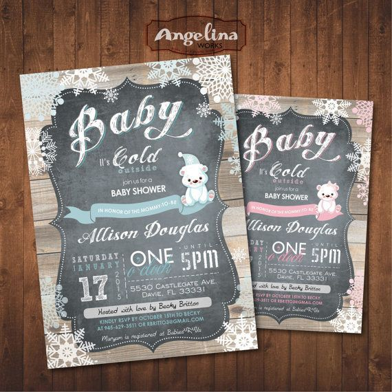 Winter Baby Shower Invitation Chalkboard. Polar Bear. Digital Printable Card