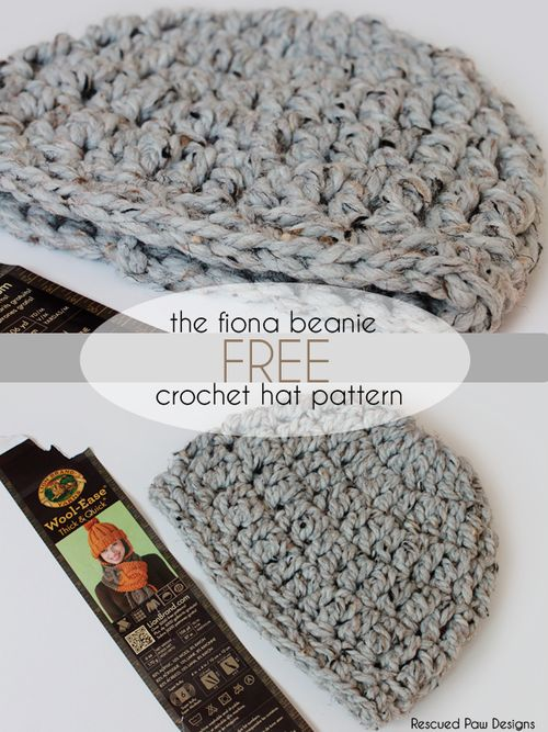 The Fiona Crochet Beanie Pattern :: Rescued Paw Designs - Free crochet pattern from rescuedpawdesigns.com