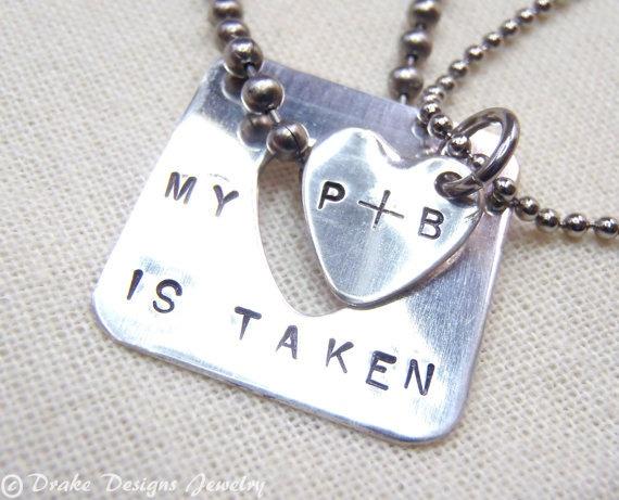 $56.00Sterling Silver... Personalized Couple Necklace Set ... Taken Heart  ... Interlocking Heart Set... Boyfriend Girlfriend