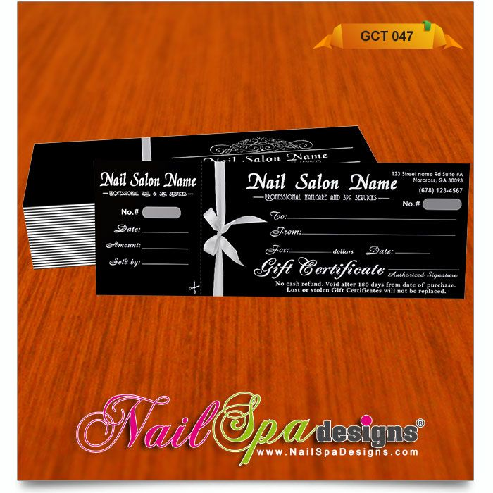 50 Best Nail Spa Gift Certificate Design Images On Pinterest