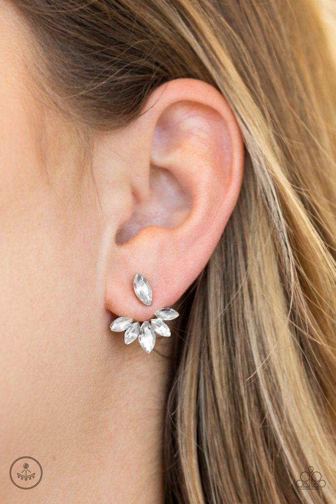 Cute Flower Rhinestone Silver Tone Boutique Style Post Stud Earrings