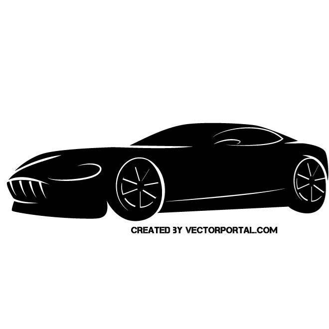 Sports car vector silhouette.