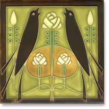 Arts & Crafts tile with birds.  Need to find a place to inlay a gorgeous tile (or two) like this.
