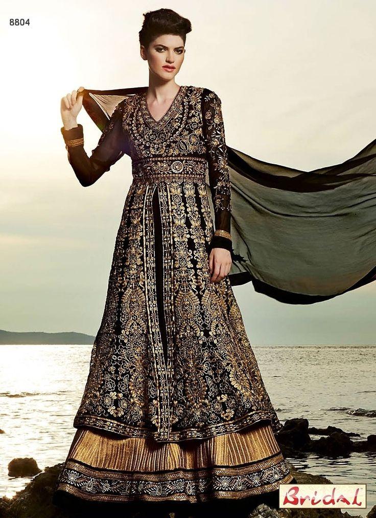 Gorgeous Black Zari Work Faux Georgette Anarkali Wedding Suit