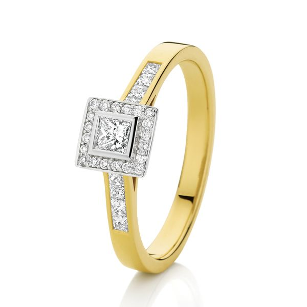 18ct Yellow Gold Princess-Cut Shoulder Solitaire Ring
