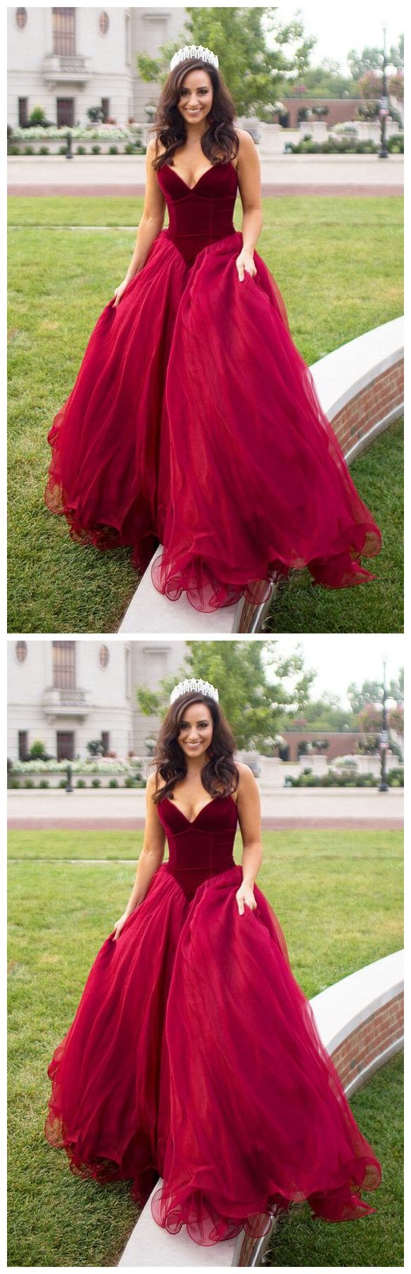 Burgundy deep v neckline velvet bust flowing layered bright red tulle skirt princess holiday gown