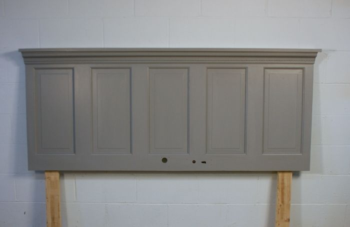 "Headboard from an old door 76"" for typical king  Today I have a fun and easy DIY project that will add a ton of character to  a bedroom space. having a bed pushed up against any wall is fine, however a  headboard helps polish & finish off the space. You can easily do this  project for under $100. You can also customize it for a"