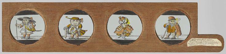 Anonymous | Vier dwergen, waarvan drie naar Het Dwergentooneel, Anonymous, c. 1710 - c. 1790 | Vier glazen in houten vatting met handvat. Uiterst links: dwerg met wandelstok, brede hoed en lang haar. Rechts daarvan: dwerg met grote neus, steunend op brede stok. Rechts daarvan: dwerg met tulband. Uiterst rechts: pijprokende dwerg met baard en kromme staf.
