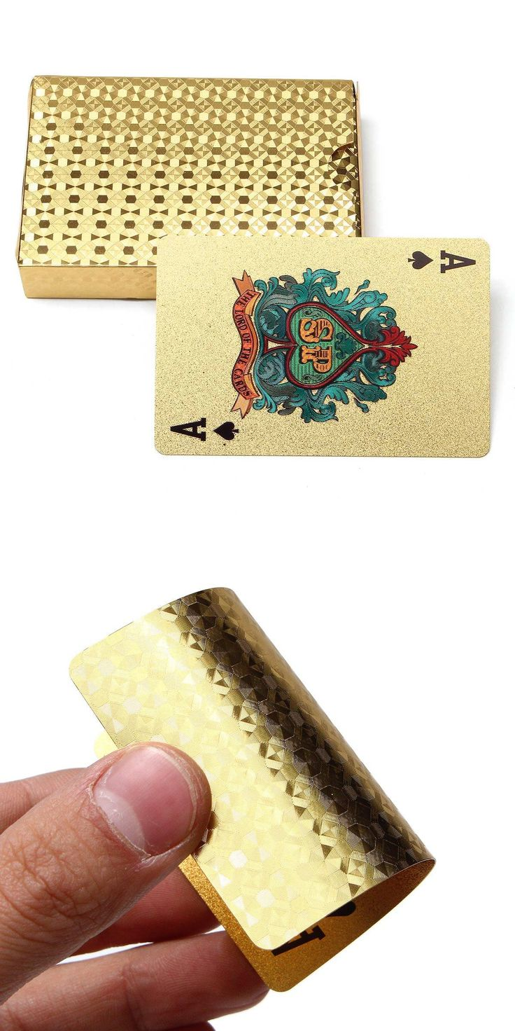 [Visit to Buy] Gold Edition 24K Golden Playing Cards Deck Magic card Plastic Gold Foil Plated Poker Cards Waterproof #Advertisement