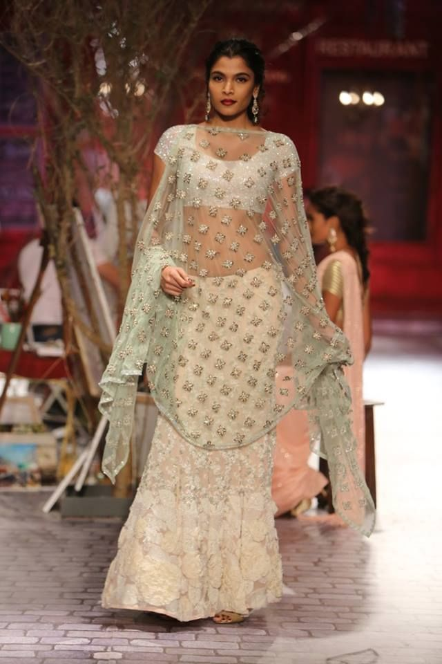 Monisha Jaising at India Couture Week 2014 - lehnga with mint dupatta