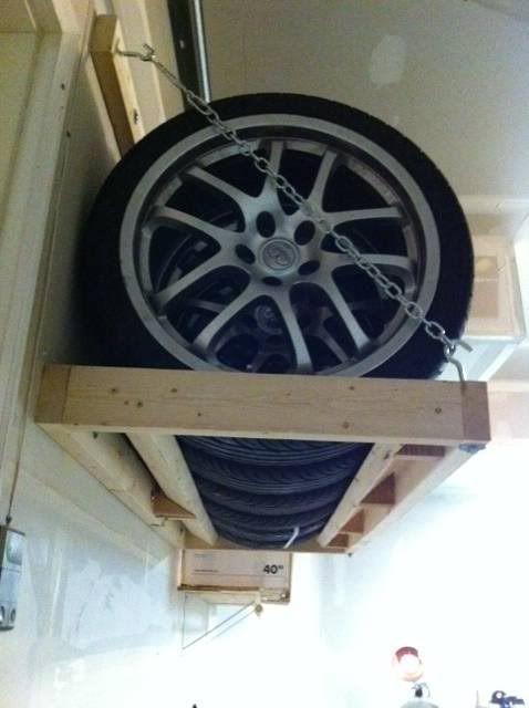 handymand bygger reol til bildæk