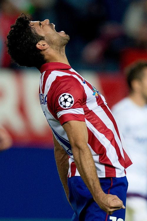 Diego Costa celebrates. Atletico Madrid reaches the Champions League knockout phase.