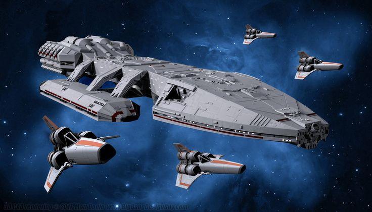 Battlestar Galactica with Vipers by Ravendeviant.deviantart.com on @DeviantArt
