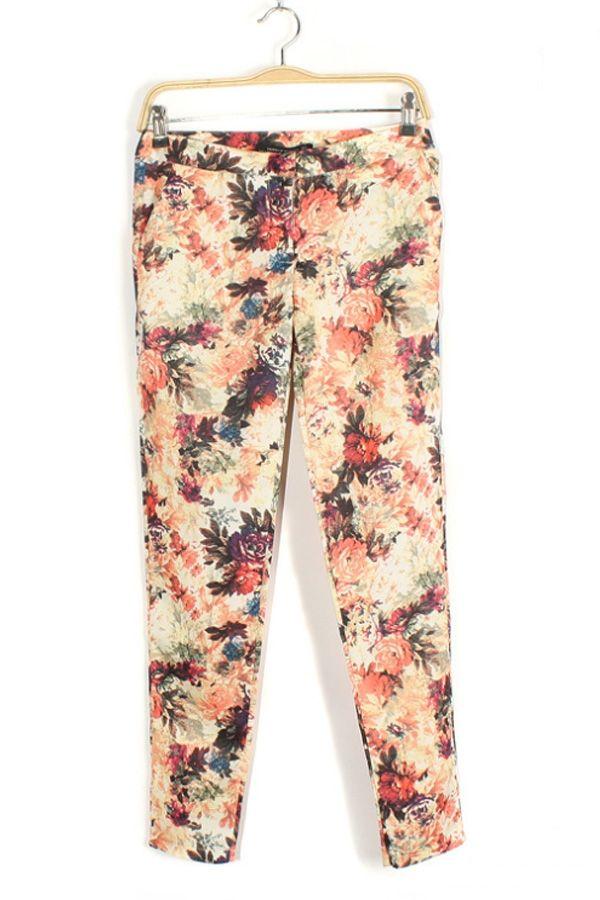 Floral Print Pants - OASAP.com