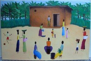 Rwandan Village painting