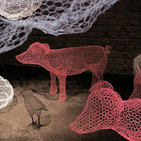 Fanciful Animal Sculptures - Transparent Chicken Wire Expresses Uncaged Imagination (GALLERY)