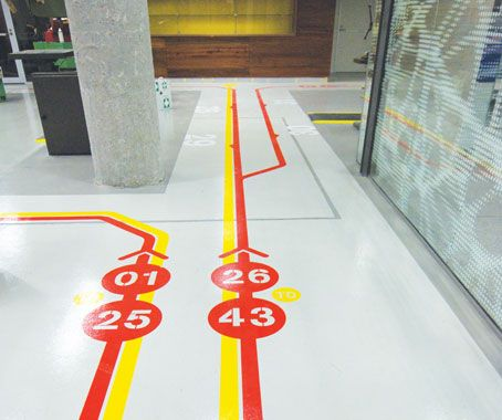 Like the directional markings on floor - would do more subtle color or tone on tone - direction to main auditorium, washrooms, guest info; maybe nursery/kids classes?