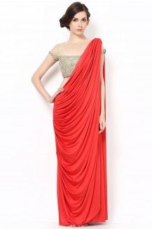 A Gorgeous Red Drape Saree With Beautiful Golden Embroidery Blouse  Rs. 15,015