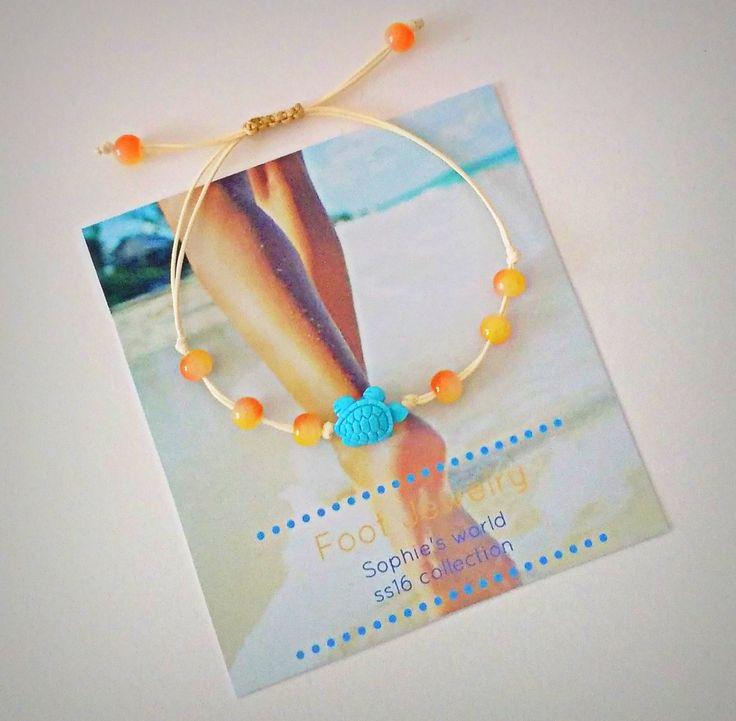 χελώνα τιρκουάζ & πορτοκαλί χάντρες σε ενα παιχνιδιάρικο βραχιόλι ποδιού anklet boho summer Greece handmade turtle orange  https://www.facebook.com/SophiesworldHandmade/