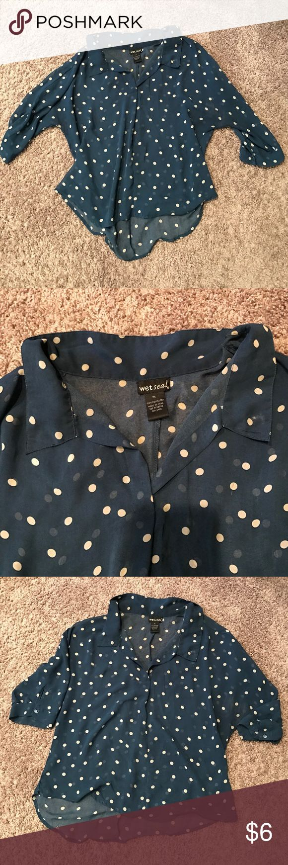 🌸NEW LISTING!🌸 Sheer Polka Dot Top Sheer navy short sleeve top with polka dots.Has a slight v neck and a collar. Button detailing on the sleeves. Size XL. Tops Blouses