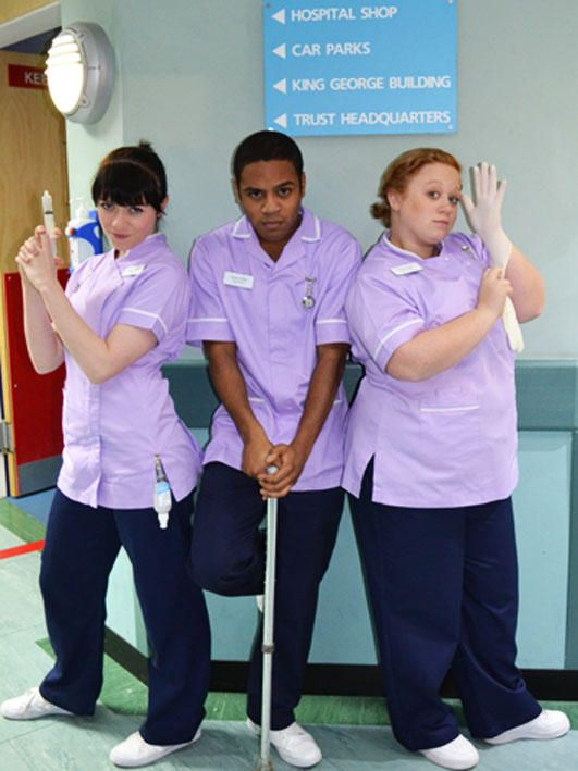 Robyn Miller ‏@Robyn_Casualty via Twitter  Check us out in our new scrubs! @Jamie_Casualty @Aoife_Casualty #Posh