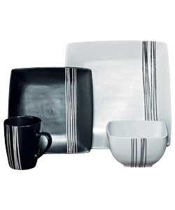 16 Piece Scratch Stoneware Dinner Set - Black and White.