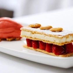 This easy strawberry mille feuille recipe is a magnificent dessert. Stephen Crane's lovely dish is served with an English strawberry sorbet