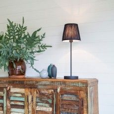Classical table lamp with a black canvas shade and metal base. -  Fold / Sessak