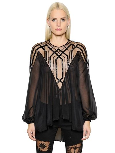 JOHN RICHMOND Embellished Silk Organza Shirt, Black. #johnrichmond #cloth #shirts