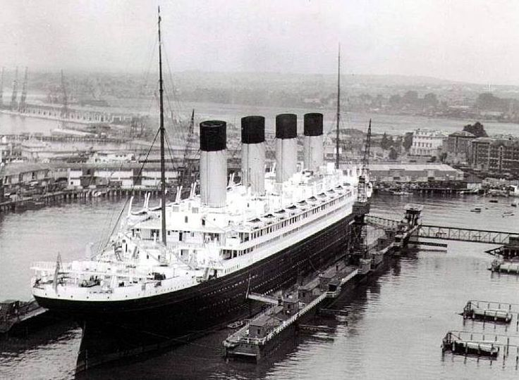 The Olympic in dry dock. Southampton.