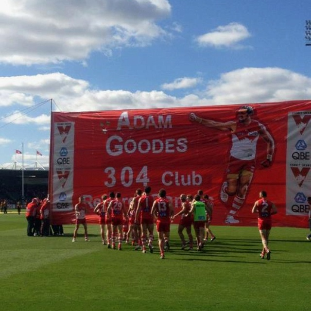 Congratulations to Adam Goodes on his record breaking game #goodes304 #GoSwans