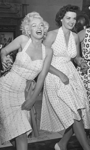 Marilyn Monroe & Jane Russell.  Marilyn just outshines everyone and everything, when she's in the frame you can see nothing but her light...that's something