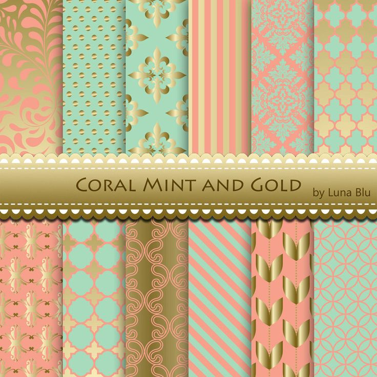Coral Mint and Gold Digital Paper: Coral Mint and by Lunabludesign