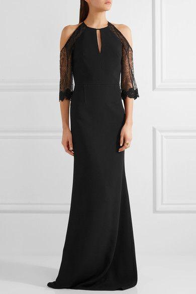 Roland Mouret - Carrington Cutout Lace-paneled Stretch-crepe Gown - Black - UK