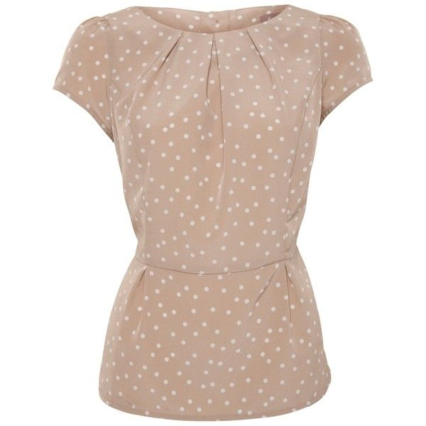 A|Wear Beige Polka Dot Peplum Blouse ❤ liked on Polyvore