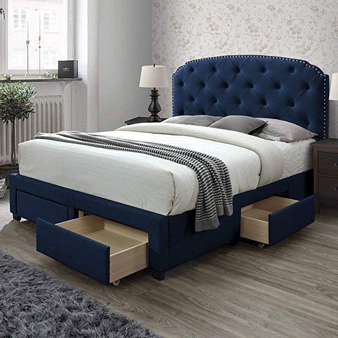 Amazon Com Dg Casa 12350 Q Blu Argo Tufted Upholstered Panel Bed