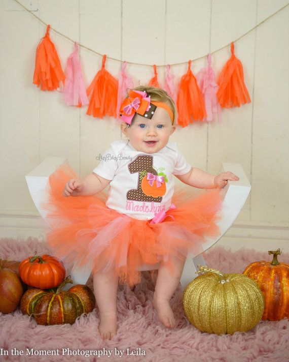 Halloween Fall Thanksgiving first 1st birthday embroidered pumpkin tutu outfit headband pink orange brown