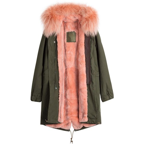 MR MRS ITALY Cotton Parka with Raccoon and Rabbit Fur ($4,515) ❤ liked on Polyvore featuring outerwear, coats, jackets, cotton coat, cotton parka, hooded parka, parka coat and red coat