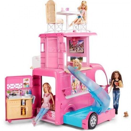 Barbie Pop Up Camper RV Van Camping Vehicle Converts Into 3 Story Playset Pool #Barbie