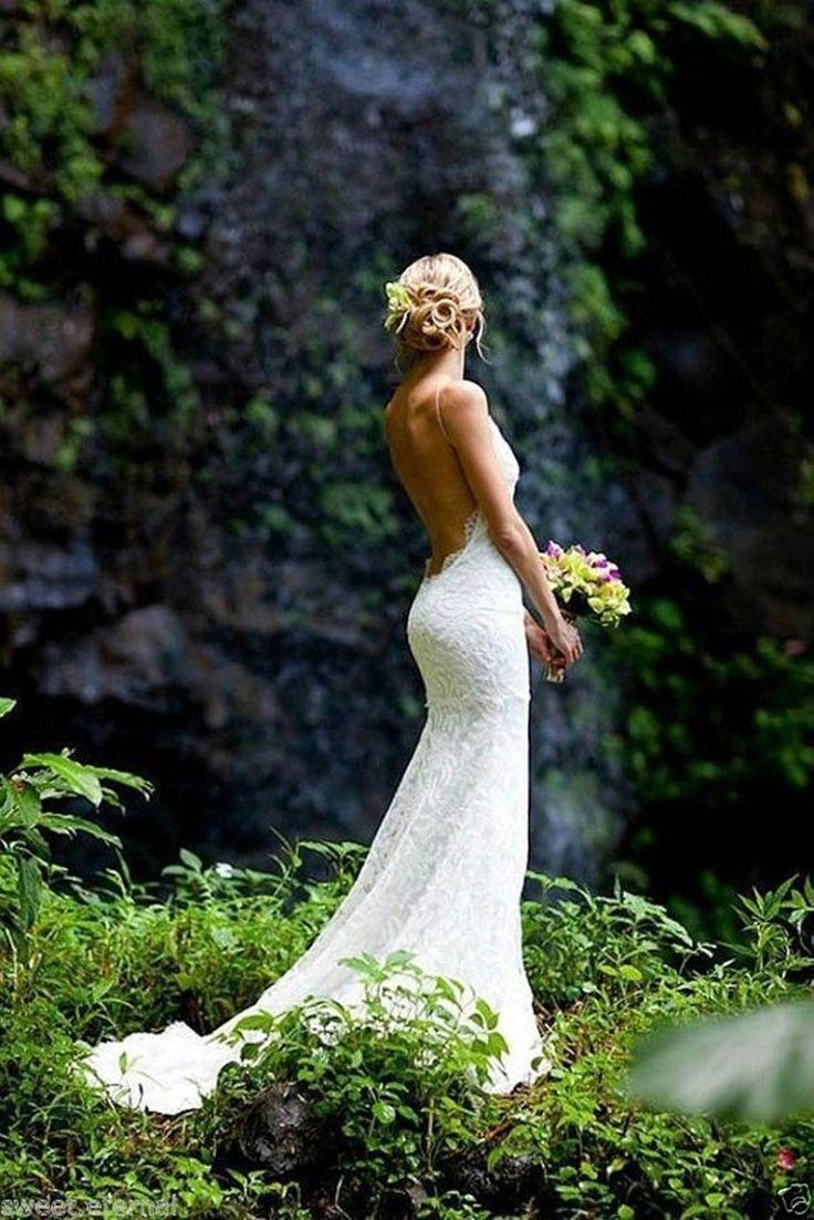 Sexy Rückenfrei Spitze Spaghetti Träger Mermaid Brautkleid Hochzeitskleid Kleid | eBay