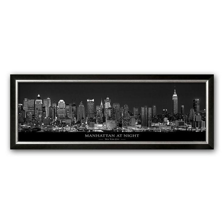 Art.com Manhattan at Night, New York City Framed Art Print by Richard Sisk, Black