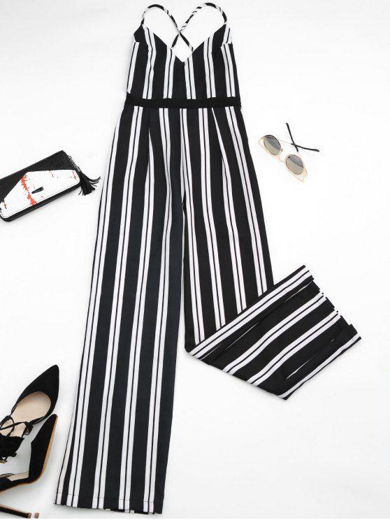 Criss Cross Stripes Wide Leg Jumpsuit