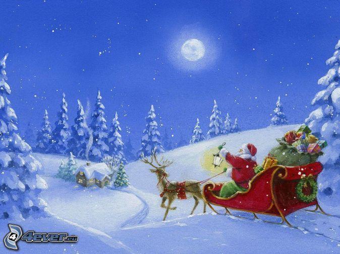 Weihnachtsmann, Schlitten, Rentier, Geschenke, verschneite Landschaft, Mond, Cartoon